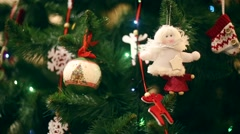 New Year, beautiful Christmas decorations on a background garlands blinking. - stock footage