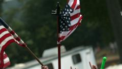 American Flags Being Waved in Slow Motion  Stock Footage