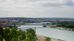 Belgrade daytime time lapse with river Sava Stock Footage