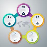 Vector illustration infographic five options - stock illustration
