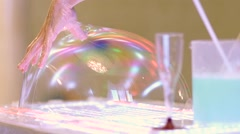 Stock Video Footage of festive Bubble Show arms man