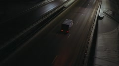 Aerial view night highway - stock footage