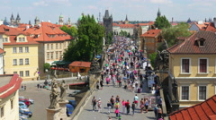 Stock Video Footage of PRAGUE - CZECH REPUBLIC, AUGUST 2015: charles bridge, castle view