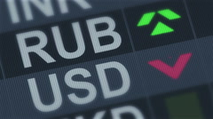 Russian ruble compared to American dollar. Currency exchange rate fluctuations Stock Footage