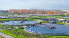 Wastewater Treatment Plant of big city Timelapse Stock Footage