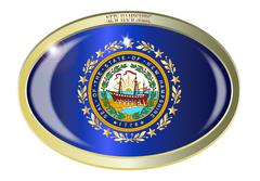 New Hampshire State Seal Oval Button Stock Illustration