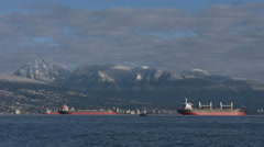English Bay, Snowy Mountains, Vancouver Timelapse 4K Stock Footage