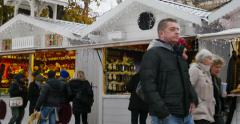 Champs-Elysees Paris Christmas Market and Grand Palais statue Stock Footage