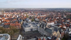 Top view of the city of Bruges, Belgium - stock footage
