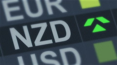 New Zealand dollar rise, fall. World exchange market. Currency rate fluctuating Stock Footage