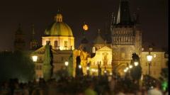 Stock Video Footage of charles bridge and castle view, prague, czech republic, timelapse, 4k