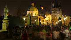 PRAGUE - CZECH REPUBLIC, AUGUST 2015: charles bridge, castle view - stock footage