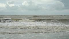 Slow motion video of sea in bad weather Stock Footage