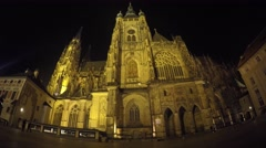 Night Prague Castle frontview and a biker Stock Footage
