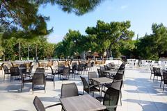 The outdoor restaurant at luxury hotel, Antalya, Turkey Stock Photos
