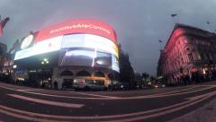 Panning timelapse view of the London Piccadilly Circus at rush hour Stock Footage
