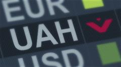 Ukrainian hryvnia fall. World exchange market default. Global financial crisis Stock Footage