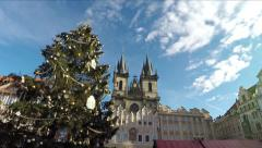 Prague Praha Old Town Square Christmas time dolly shot of Christmas tree 4k Stock Footage