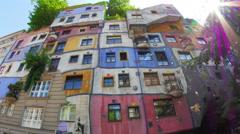 Stock Video Footage of bizarre hundertwasser house, vienna, austria, timelapse, zoom in, 4k