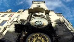 Tilt up footage of Prague Astronomical Clock or Prague Orloj Old Town Square 4k Stock Footage
