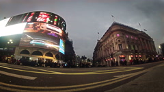 Panning timelapse view of the Piccadilly Circus at rush hour Stock Footage