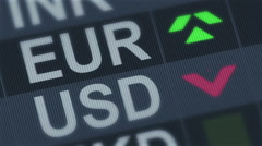 EU euro compared to American dollar. Currency exchange rate fluctuations - stock footage