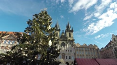 Prague Praha Old Town Square Christmas time showing a large Christmas tree 4k Stock Footage