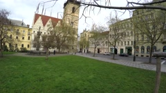 Camera pan Prague Praha small park city centre near Vltava river 4k Stock Footage