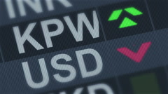 South Korean won compared to American dollar. Currency exchange rate fluctuation Stock Footage