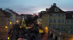 Prague Christmas market view from upstair from Charles Bridge early evening 4k Stock Footage