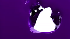 Violet paint fills up screen, slow motion, isolated on white with alpha matte Stock Footage