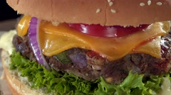 Stock Video Footage of Rotating Cheeseburger (not loopable)