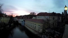 Prague sun going down near Charles Bridge.mp4 Stock Footage