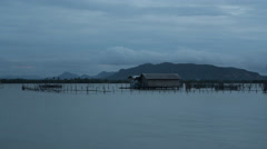 Evening cloudy time lapse of Ko Yo island fisherman village, Thailand Stock Footage