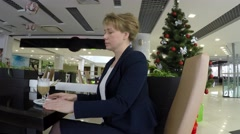 In the background a Christmas tree. - stock footage