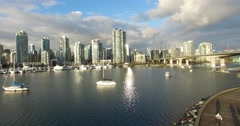 Aerial rising crane shot of Yaletown Marina harbour Stock Footage