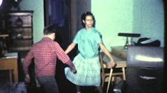 Kids Wild DANCE PARTY! Children DANCING 1960s Vintage Film Home Movie 9092 Stock Footage