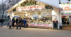 Champs-Elysees Paris Christmas Market Stock Footage