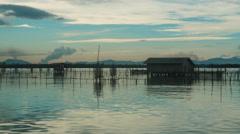 Time lapse video of Ko Yo island fisherman village, Thailand Stock Footage