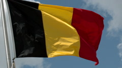 Flag of Belgium Waving in the Wind in Slow Motion Stock Footage