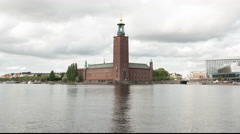Time Lapse of City Hall Building Stockholm Sweden Stock Footage