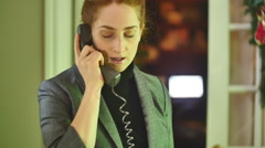 realtor woman talking on phone discussion - stock footage