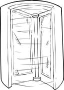 Empty Outlined Revolving Doorway - stock illustration