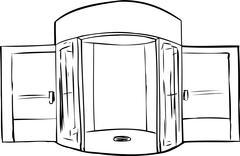 Outlined Missing Door in Doorway Stock Illustration
