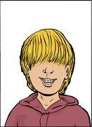 Smiling Boy with Long Hair - stock illustration