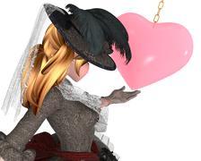 Elegant anime noble lady in love Stock Illustration