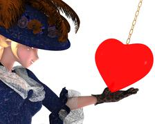 elegant anime noble lady in love - stock illustration