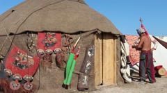 Scythian camp. Art felts, saddles, traditional costume and headdress Stock Footage
