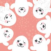 Stock Illustration of card design Funny white fur seal pups, cute winking seals with pink cheeks and