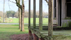 Background of Old Abandoned School House Porch Stock Footage